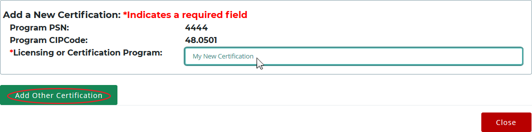 The Add a New Certification pop-up window, where a new certification is being added via the Licensing or Certification Program text field